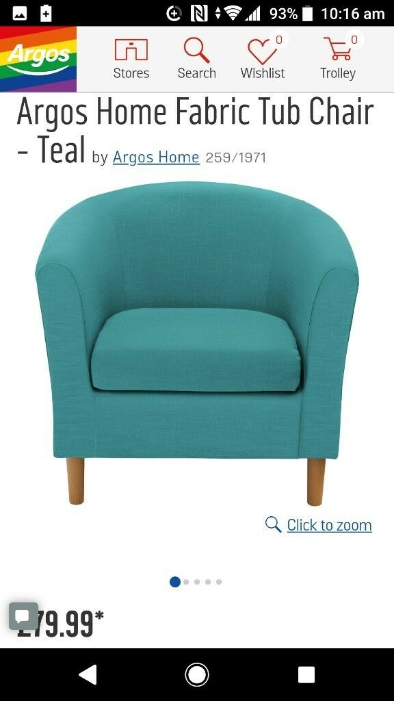 teal fabric tub chair from argos in newcastle tyne and wear gumtree