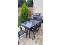 Rattan Garden Glass Table with 6 Chairs