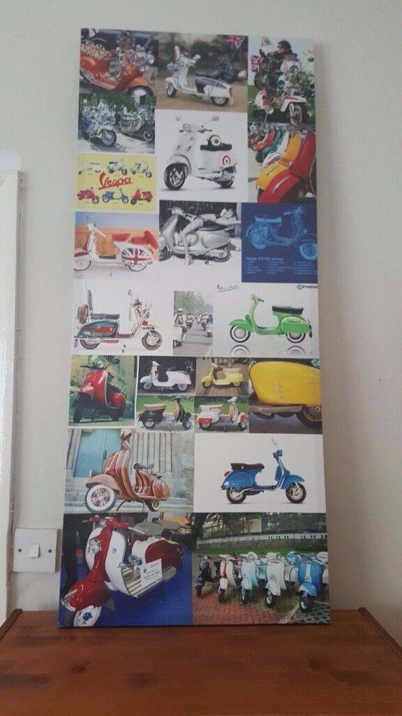Canvas Picture/Print (Colourful Moped's/Vespas)
