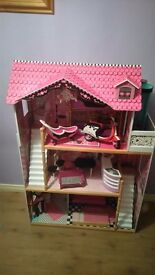 Girls dolls house with monster high accessories