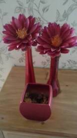 Red vases with flowers