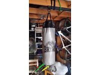 Punch bag with heavy duty wall bracket and new gloves