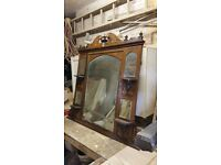 ANTIQUE VICTORIAN STYLE OVERMANTEL MIRROR WITH INLAY WOOD