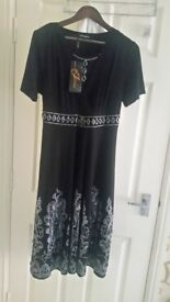 Brand new black dress with white work high quality