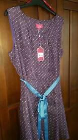BNWT Unworn Ness Audley Purple Spot Dress UK16