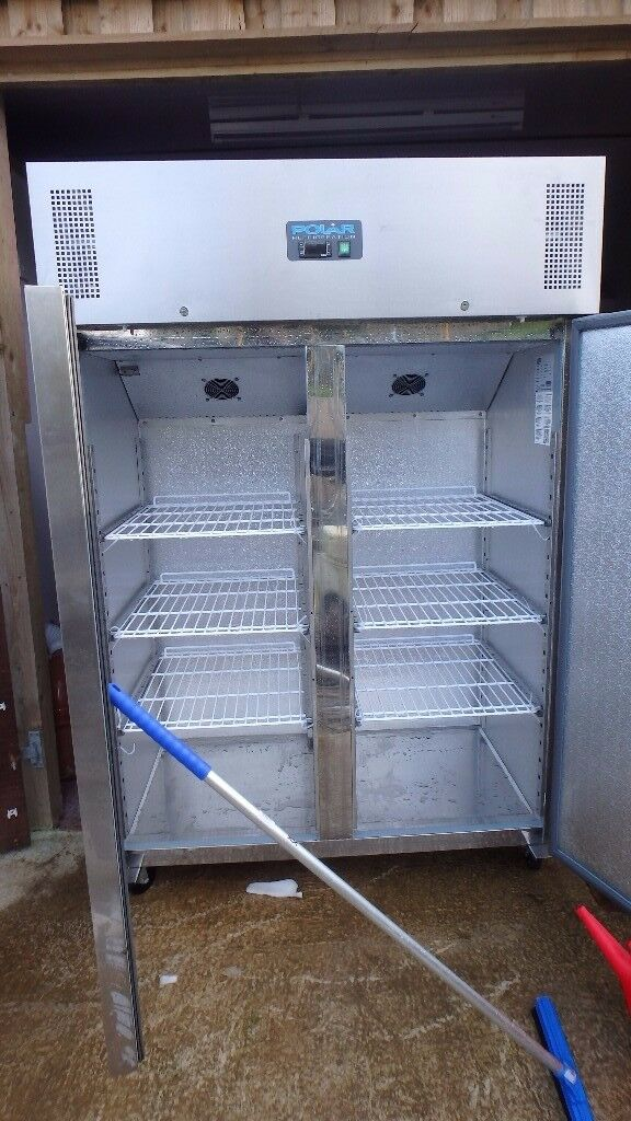 Polar 1200l double door freezer in stainless steel