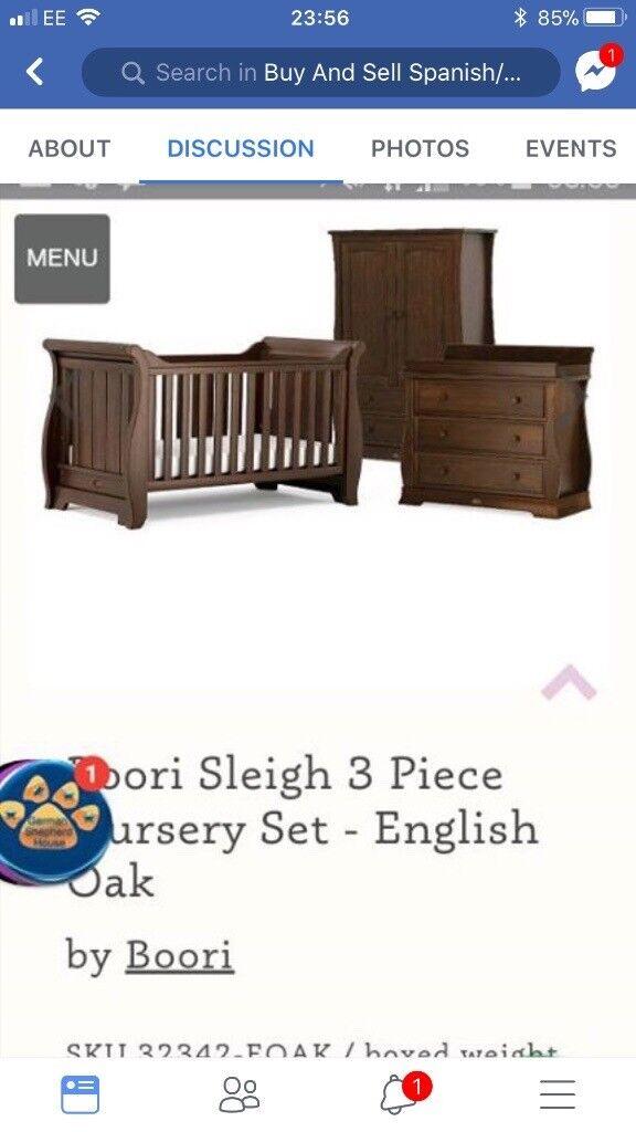 Borri sleigh cot bed furniture set
