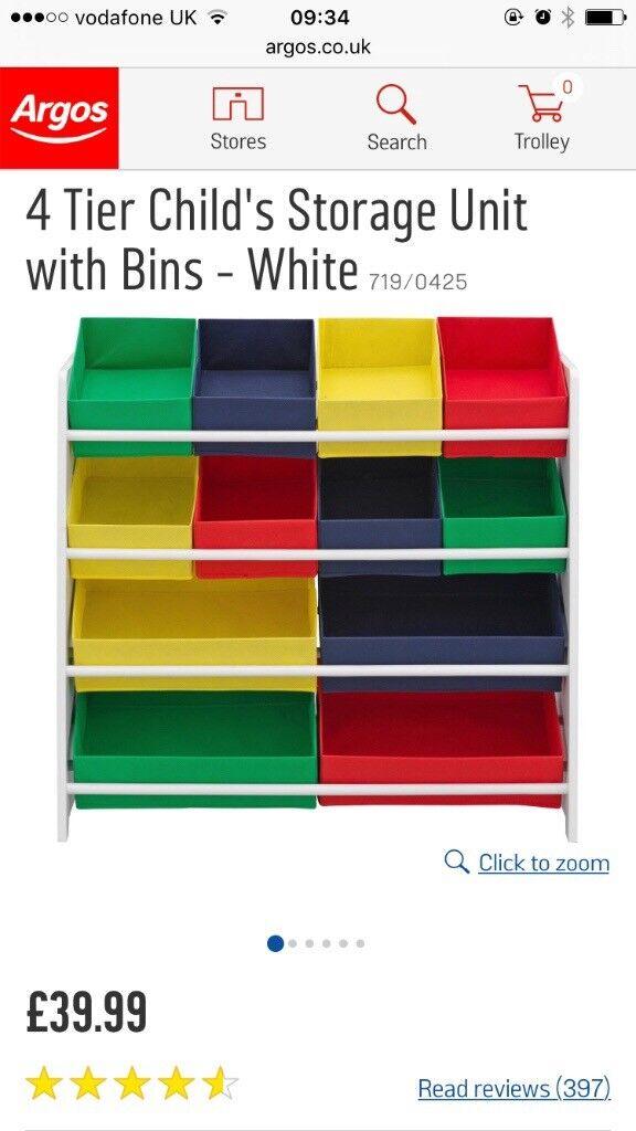 Kids 4 tier toy storage unit plus coloured trays