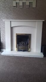 Marble effect fire surround and marble hearth and back panel