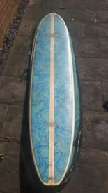 "Nigel Semmens 9""1' Longboard, C-Fin, Two Knee Leashes and Bag. £280"