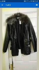 New look leather look coat size 20