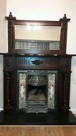 Beautiful mahogany fireplace with matching overmantle