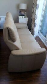 KANAPE Beige 3 Seater Leather Sofa