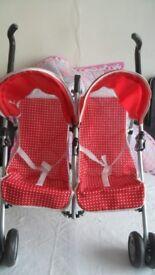 Silver Cross Pop Duo Junior Twin Dolls Pushchair Buggy Stroller Toy Double Pram