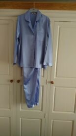 M&S Blue Satin Pyjamas Size 8