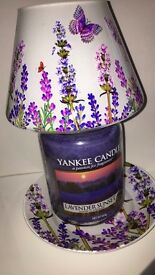 YANKEE CANDLE LARGE JAR AND SHADE AND PLATE
