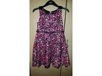 Pink and black animal print dress age 9-10