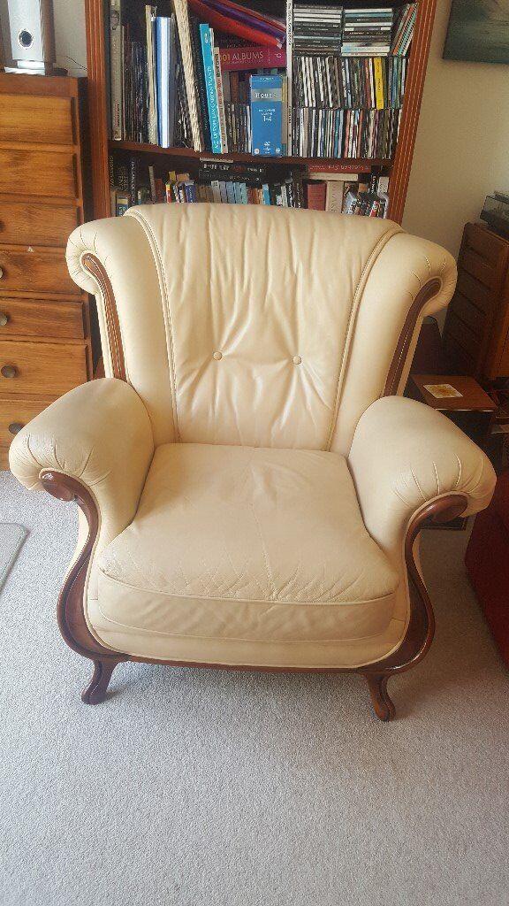 Cream leather armchair | in West Moors, Dorset | Gumtree