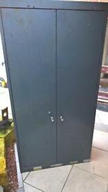 "Large metal storage cabinet 1'6"" x 3"" x 6'"