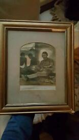 Antique Print Of (Livingstone Reading The Bible)