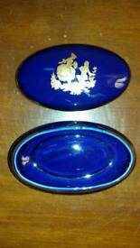 limoges porcelain blue gold oval shaped trinket dish