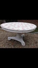 GORGEOUS PAINTED ANTIQUE BREAKFAST TABLE- SEATS 6-8