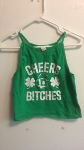 """Cheers Bitches"" St. Patrick's Day Crop Top"