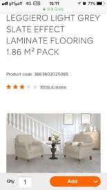8 packs of slate grey effect laminate flooring