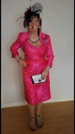 Pink Mother of the Bride/Groom Outfit and Fascinator Size 12-14
