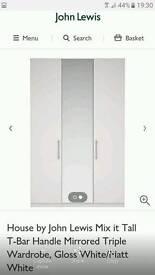 TALL WHITE GLOSS/ MIRROR 3 DOOR WARDROBE JOHN LEWIS BOXED