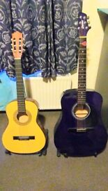 3/4 and Full Size Purple Guitar with two Stands - £30