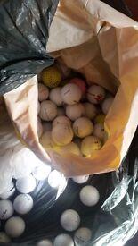 Black bag full of mixed golf balls.
