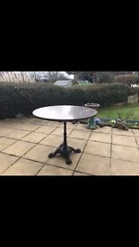 Round Top Garden Stone Patio Table With Cast Iron Leg - Made from Quartz - Medium Brown Colour - NEW