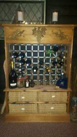 Wooden wine rack with draws