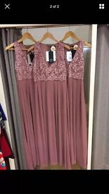 3 blush pink bridesmaid dresses brand new with tags. Sizes 12/14/8
