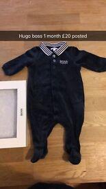 Baby boy hugo boss babygrow 1 month
