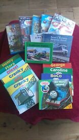 Various Thomas the Tank Engine childrens' DVDs and books