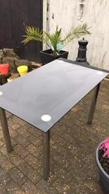 Dining table silver and black glass