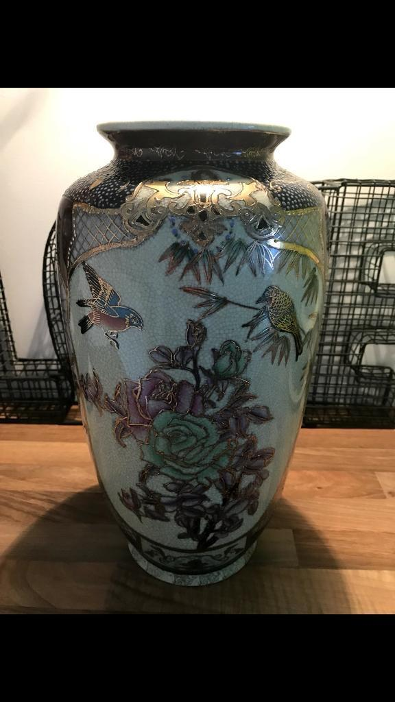 Vintage Chinese Hand Painted Satsuma Vase In Wilnecote
