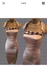 Karen Millen Rose gold pencil dress with black lace detail 12