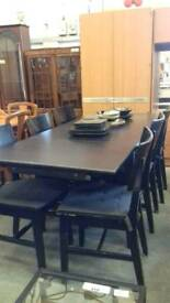 Black Dining Table With 6 Chairs - Delivery Available