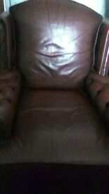 Lovely Red Leather Armchair - Bargain £50