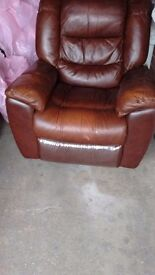 Brown leather 3seater sofa an chair recliners