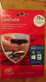 McAfee Livesafe 1 year Subscription worth £79.99