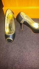 Elegant park high heels shoes blu