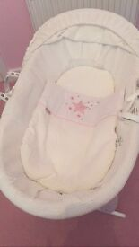 Clair De Lune White Moses Basket and Rocking Stand