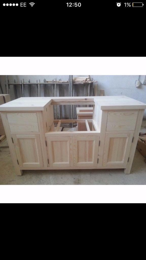 Solid Pine Belfast Sink Kitchen Unit for 600mm width sinking ...