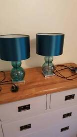Pair of matching blue glass table lamps