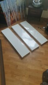 3 Floating Wall Shelves White High Gloss 110x26cm - Perfect Condition