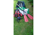 Sevylor Adventure Plus 3 person (family) inflatable canoe kayak + electric pump, life jacket, ores